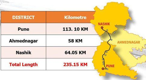 Pune-Nashik Semi High Speed Rail Corridor Map