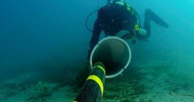 Diver examining a Subsea Communications Cable
